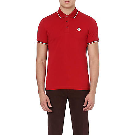 MONCLER Striped-trim polo shirt (Red