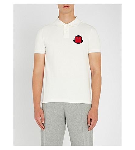 MONCLER Patch-embroidered cotton-piqué polo shirt (White