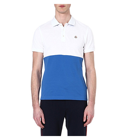 MONCLER Bi-colour polo shirt (White/blue