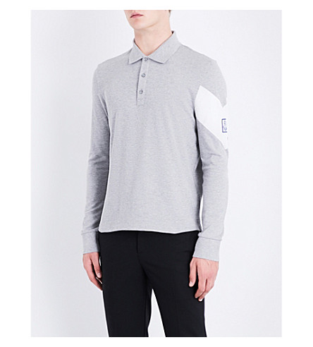 MONCLER GAMME BLEU Logo-detail cotton-piqué polo shirt (Light+grey