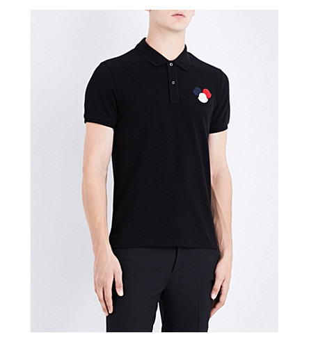 MONCLER Logo-detail cotton-piqué polo shirt (Black