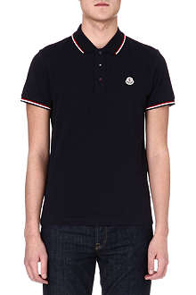 MONCLER Striped-collar polo shirt