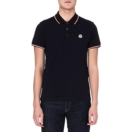 MONCLER Striped-collar polo shirt (Navy