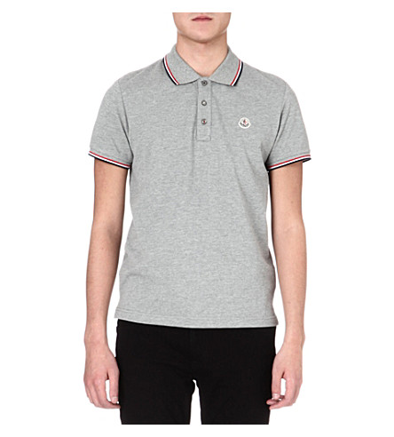 MONCLER Striped-collar polo shirt (Grey