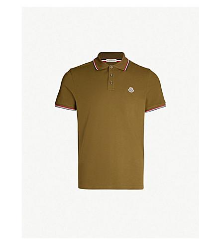 MONCLER Stripe-trimmed cotton-piqué polo shirt (Military