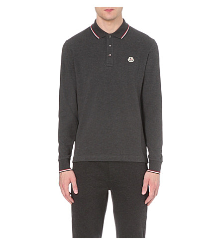 MONCLER Stripe-trim cotton-piqué polo shirt (Anthracite