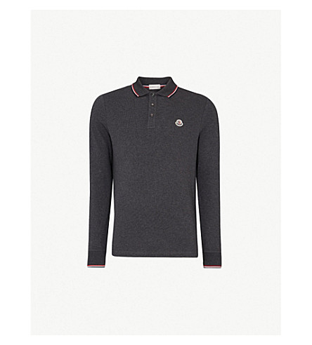 MONCLER Stripe-trim cotton-piqué polo shirt (Dk+grey