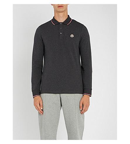MONCLER Stripe-trim cotton-piqué polo shirt (Dk+grey