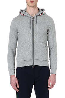MONCLER Striped-trim cotton hoody