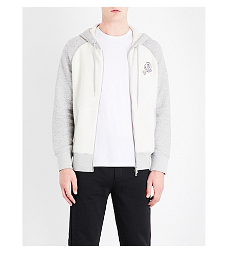 MONCLER Raglan-sleeve cotton-blend hoody (Grey