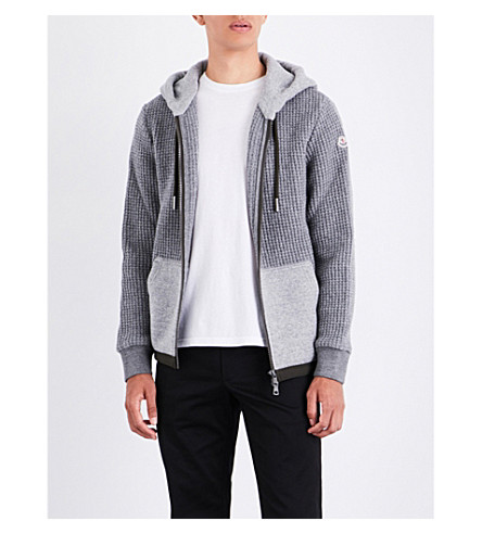 MONCLER Contrast-panel knitted hoody (Grey