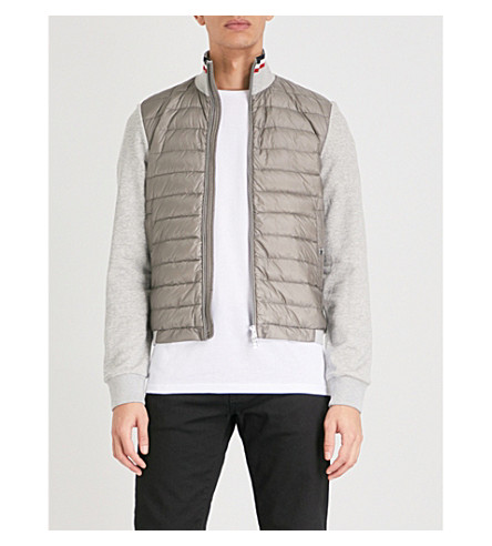 MONCLER Quilted shell and cotton-blend jacket (Grey
