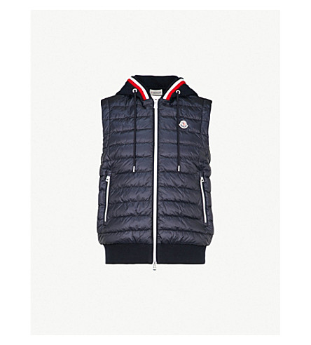 MONCLER Hooded quilted down jacket (Navy