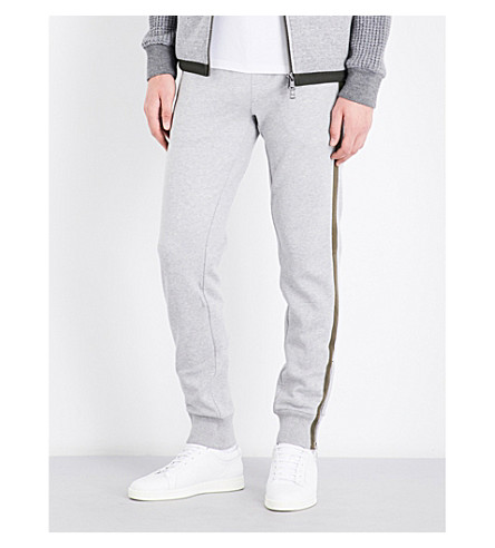 MONCLER Striped-side cotton-jersey jogging bottoms (Grey