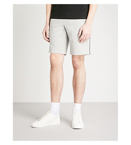 MONCLER Stripe-trim cotton-jersey shorts (Grey