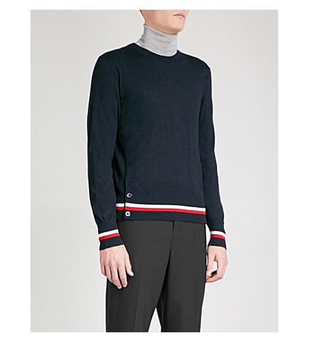 MONCLER GAMME BLEU Striped-hem cashmere and silk-blend jumper (Navy
