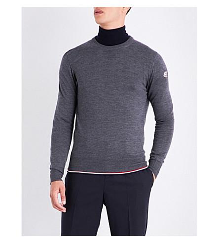 MONCLER Striped-detail wool and cotton jumper (Dark+grey