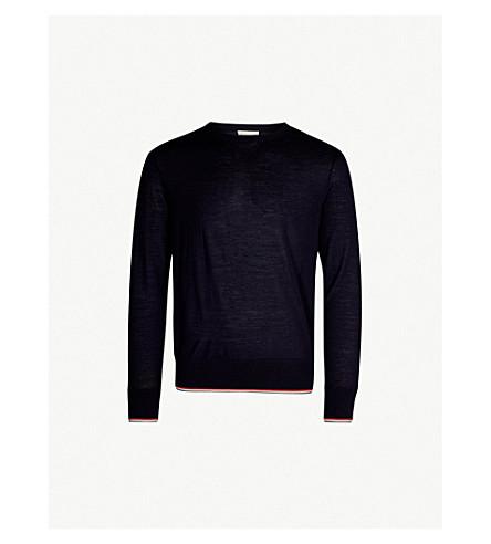 MONCLER Stripe-trim virgin wool jumper (Navy