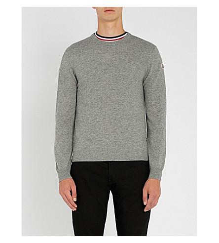 MONCLER Logo-embroidered cashmere jumper (Grey