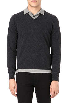 MONCLER Three-stripe v neck jumper