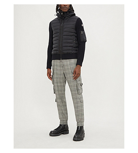 MONCLER Shell and kinitted jacket (Black