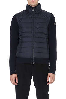MONCLER Quilted-panel wool cardigan jacket