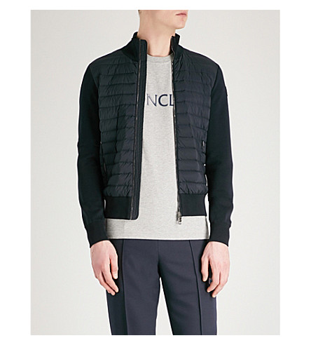MONCLER Cardi quilted knitted jacket (Dk+blue
