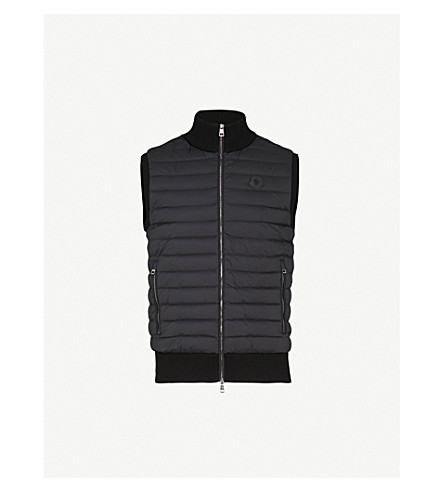 MONCLER Quilted shell and knitted gilet (Black