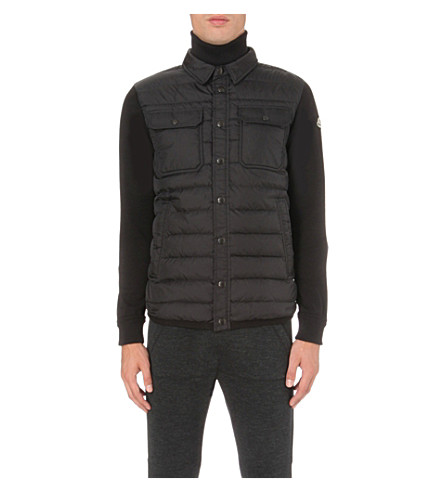 MONCLER Quilted-detail wool jacket (Black