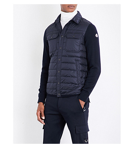 MONCLER Quilted-detail wool jacket (Navy