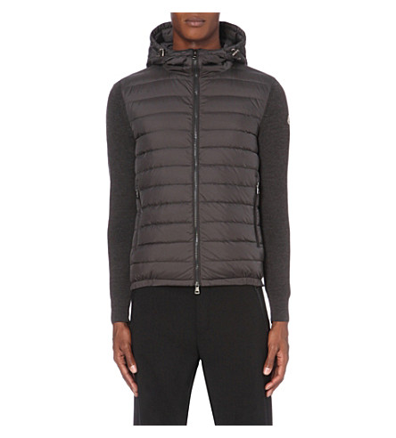 MONCLER Quilted and knitted jacket (Black