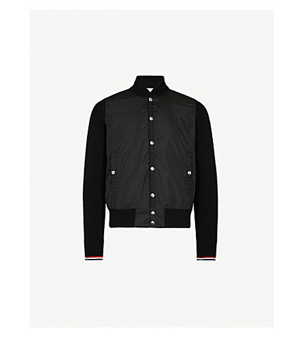 MONCLER Contrast cotton and sheel bomber jacket (Black
