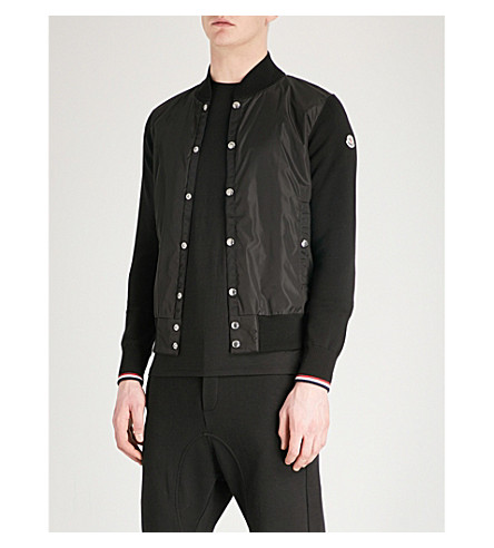 MONCLER Contrast cotton and sheel bomber jacket (Black