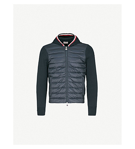 MONCLER Quilted shell and knitted jacket (Blue