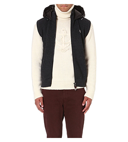 MONCLER Quilted-back hooded gilet (Grey