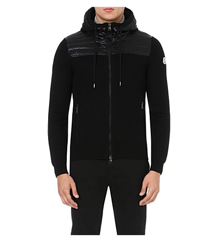 MONCLER Quilted-panel hooded cardigan (Black