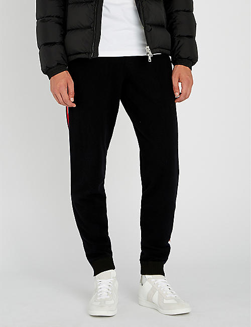 MONCLER Side-stripe wool jogging bottoms