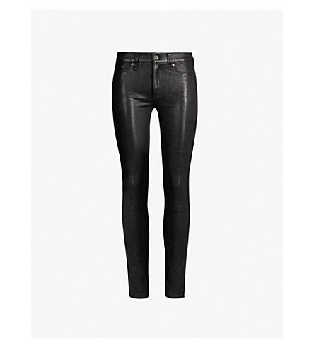 RAG & BONE Skinny mid-rise leather trousers (Washed+black