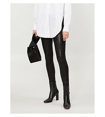 RAG & BONE Skinny mid-rise leather pants (Washed+black