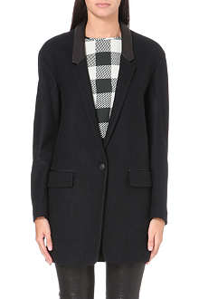 RAG & BONE Camila leather-collar wool blazer