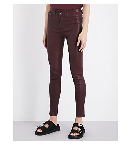 RAG & BONE Skinny leather trousers (Burgundy