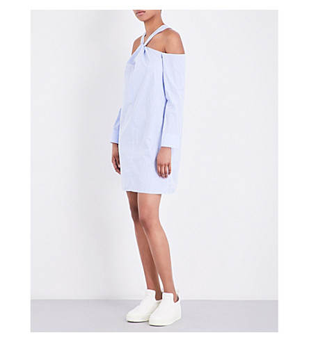 RAG & BONE Collingwood cold-shoulder striped cotton dress (Bby+blu+strp