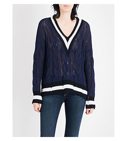RAG & BONE Emma V-neck knitted jumper (Navy