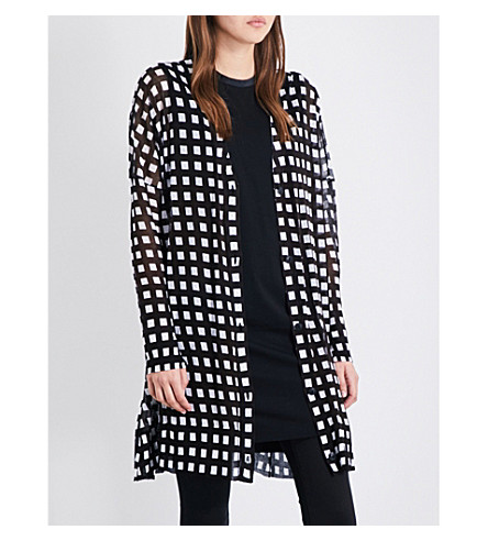 RAG & BONE Michaela grid-patterned cotton cardigan (White+black