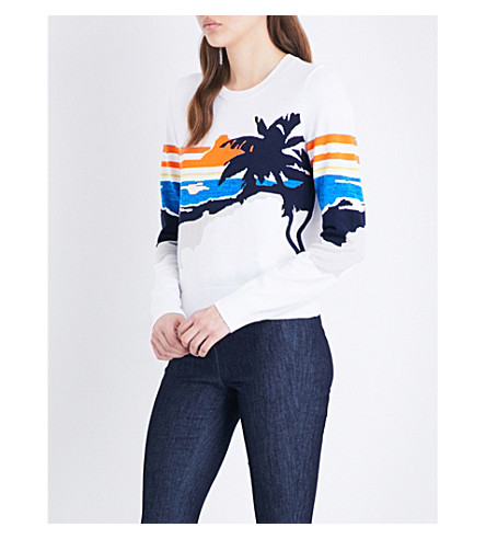 RAG & BONE Nicki graphic-intarsia knitted jumper (White