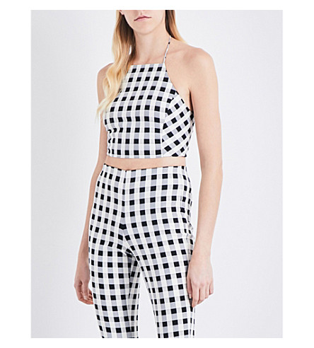 RAG & BONE Nevada gingham cotton-blend cropped top (Black+white