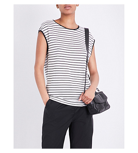 RAG & BONE Toni silk-trimmed stretch-jersey T-shirt (Black+blanc