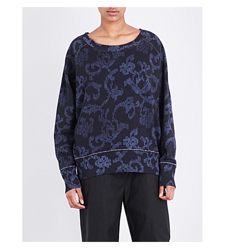 RAG & BONE Max abstract-print cotton sweatshirt (Indigo