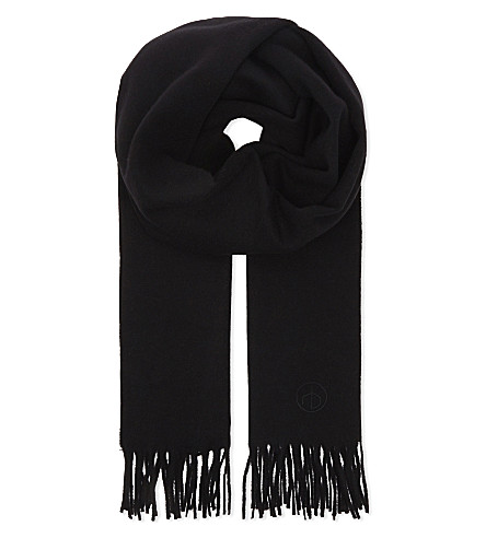 RAG & BONE Embroidered wool scarf (Black