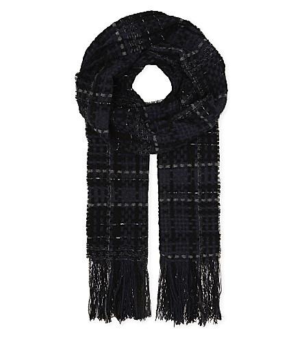 RAG & BONE Linton wool-blend tweed scarf (Blue+multi